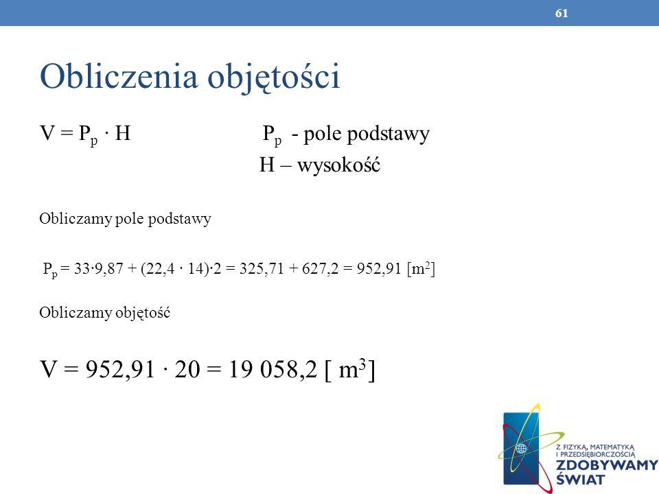 Obliczenia objętości V = 952,91 ∙ 20 = 19 058,2 [ m3]